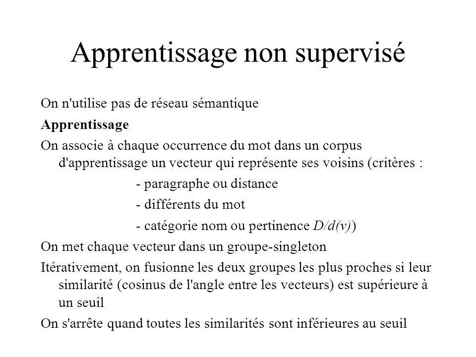 Apprentissage non supervisé