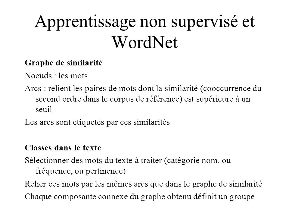 Apprentissage non supervisé et WordNet