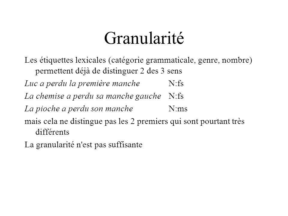Granularité Les étiquettes lexicales (catégorie grammaticale, genre, nombre) permettent déjà de distinguer 2 des 3 sens.