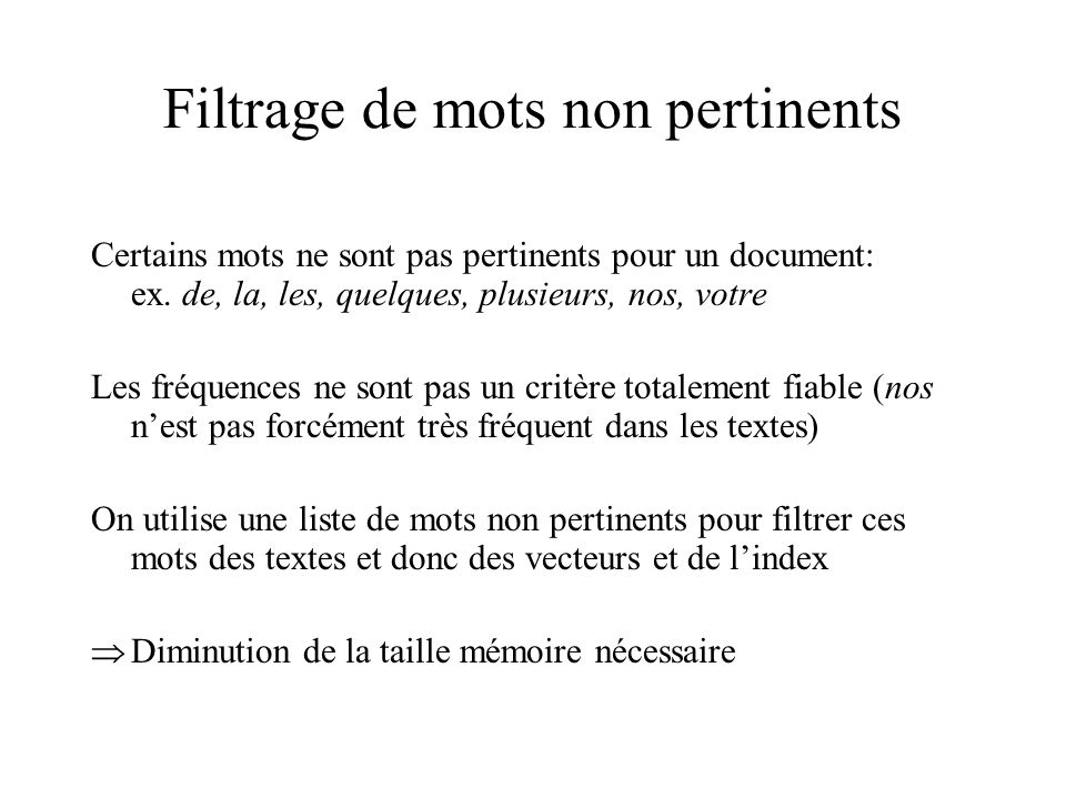 Filtrage de mots non pertinents