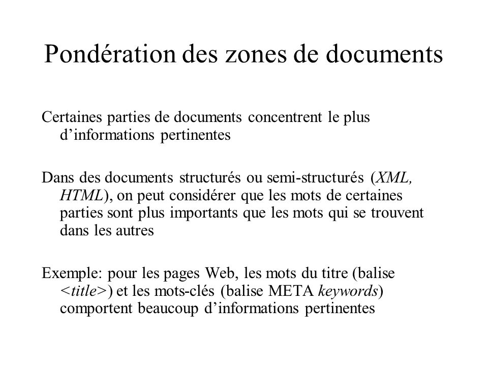 Pondération des zones de documents