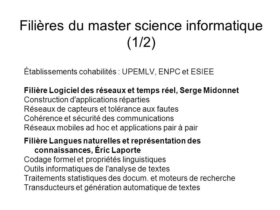 Filières du master science informatique (1/2)
