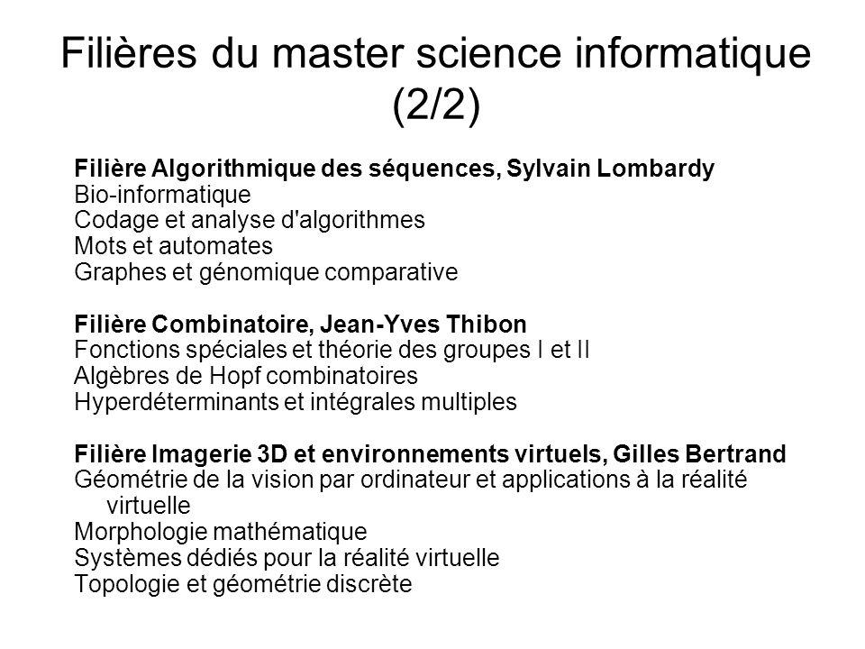 Filières du master science informatique (2/2)