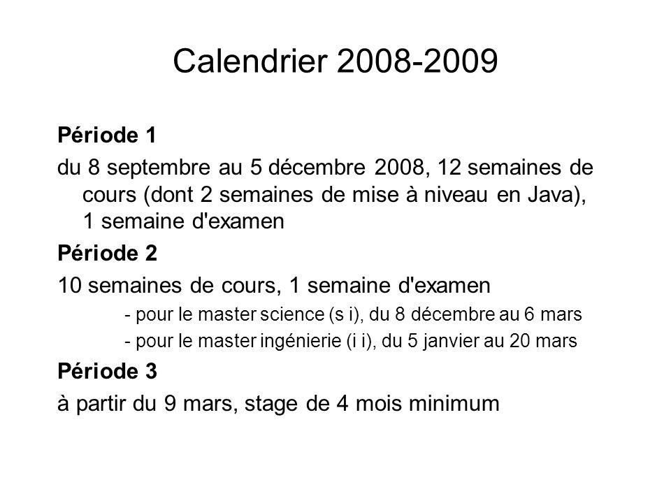 Calendrier 2008-2009 Période 1.