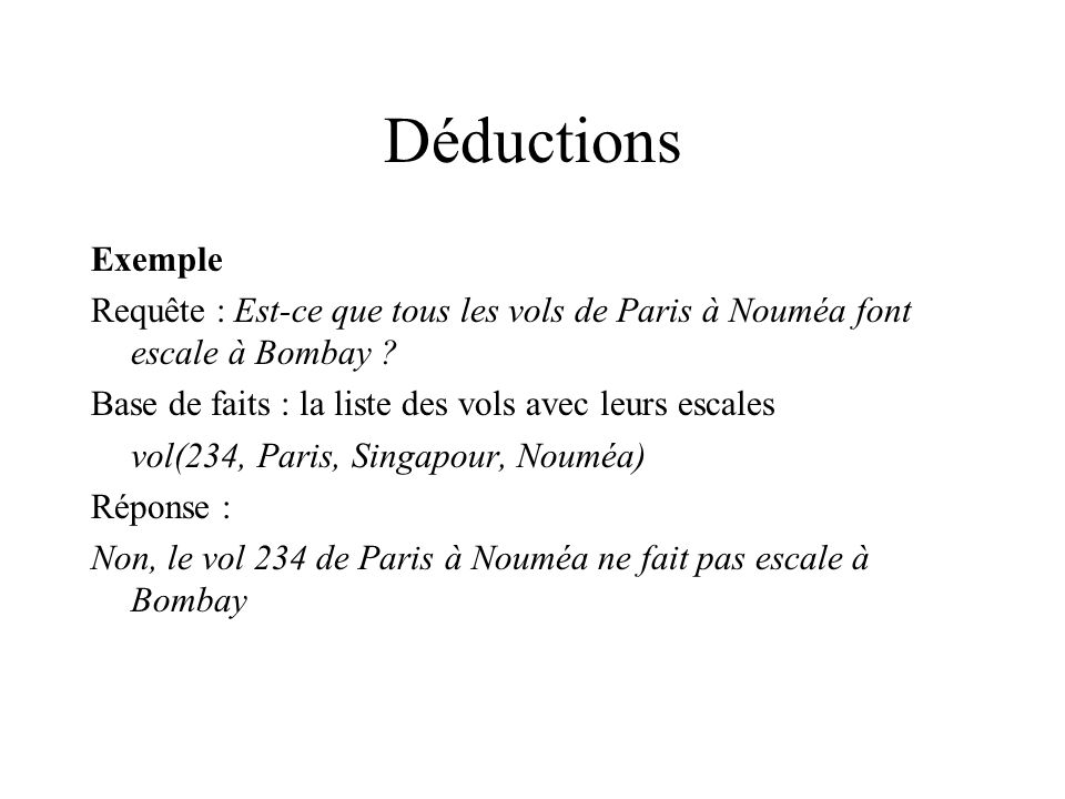 Déductions Exemple. Requête : Est-ce que tous les vols de Paris à Nouméa font escale à Bombay