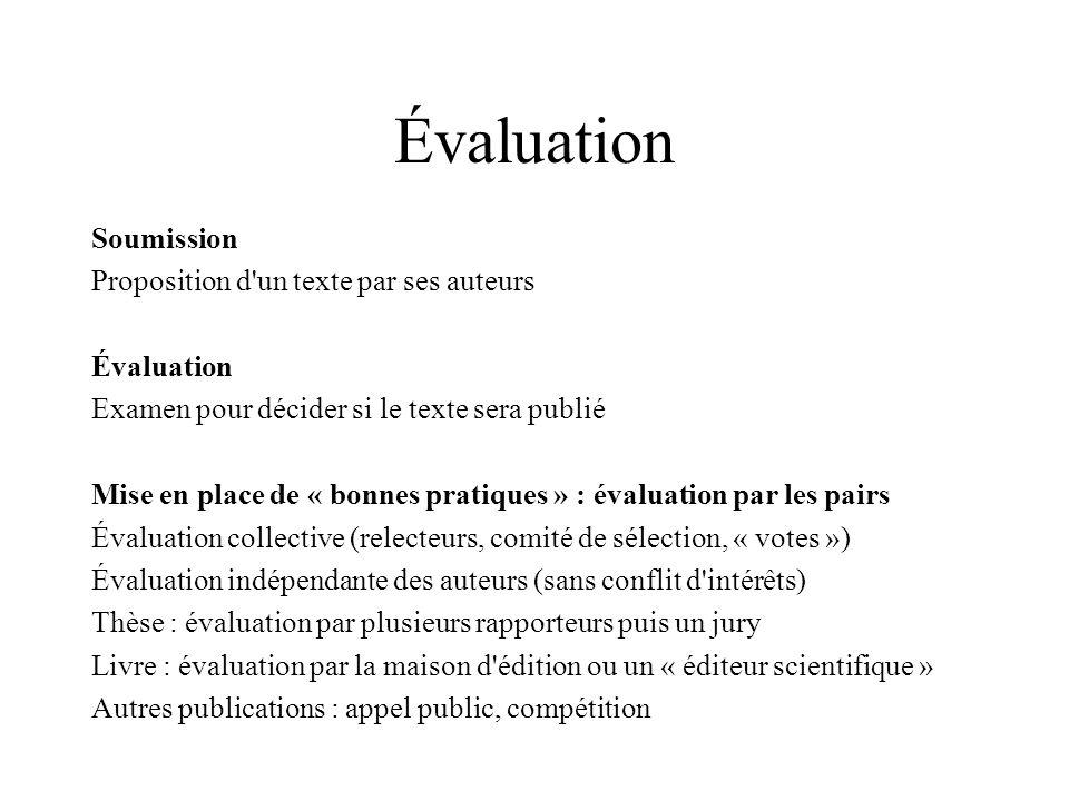 Évaluation Soumission Proposition d un texte par ses auteurs