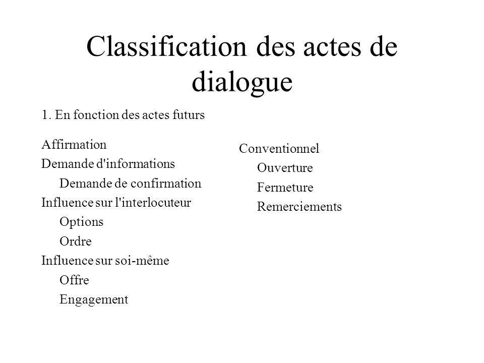 Classification des actes de dialogue