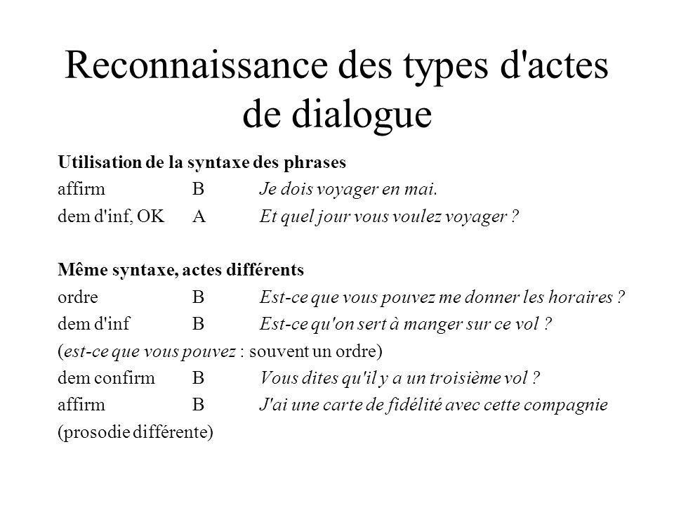 Reconnaissance des types d actes de dialogue