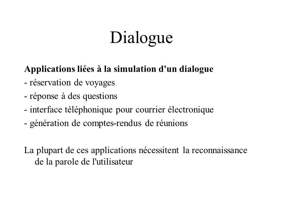 Dialogue Applications liées à la simulation d un dialogue