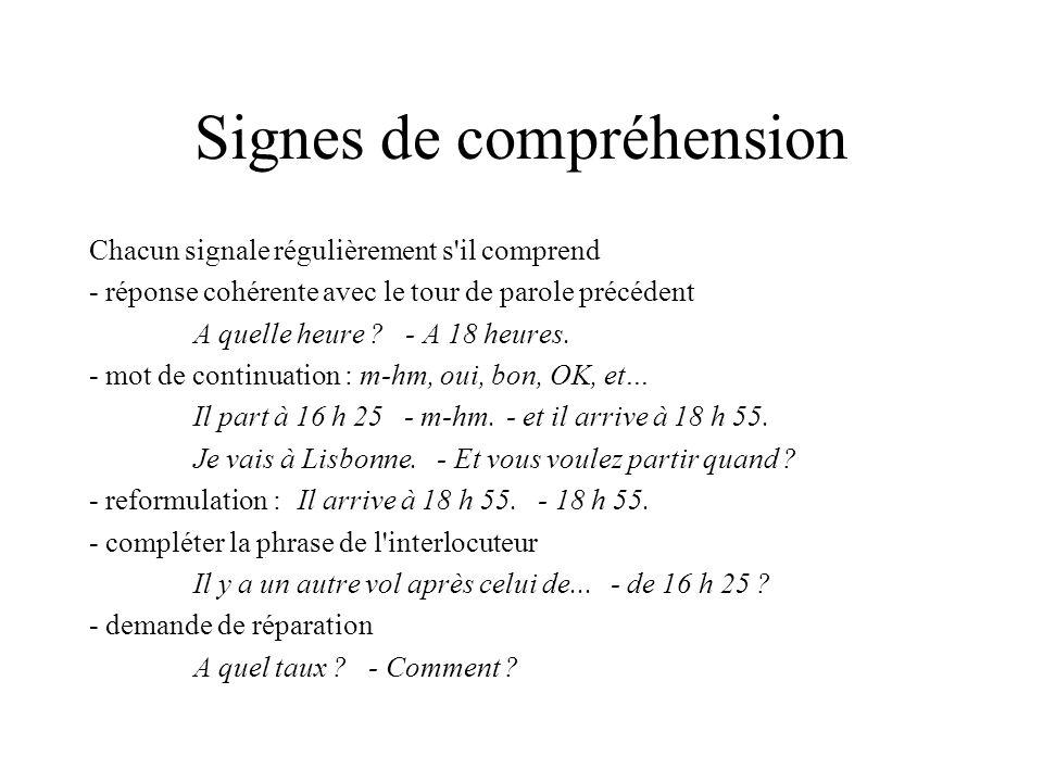 Signes de compréhension