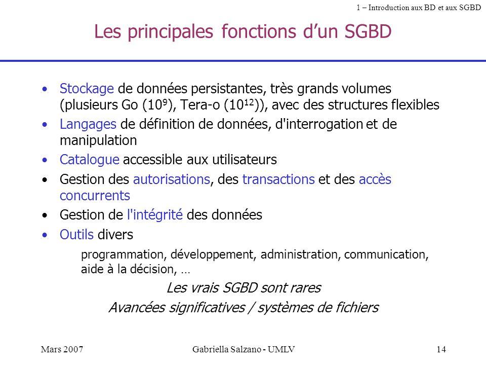 Les principales fonctions d'un SGBD