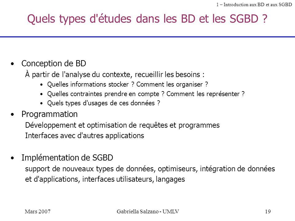 Quels types d études dans les BD et les SGBD