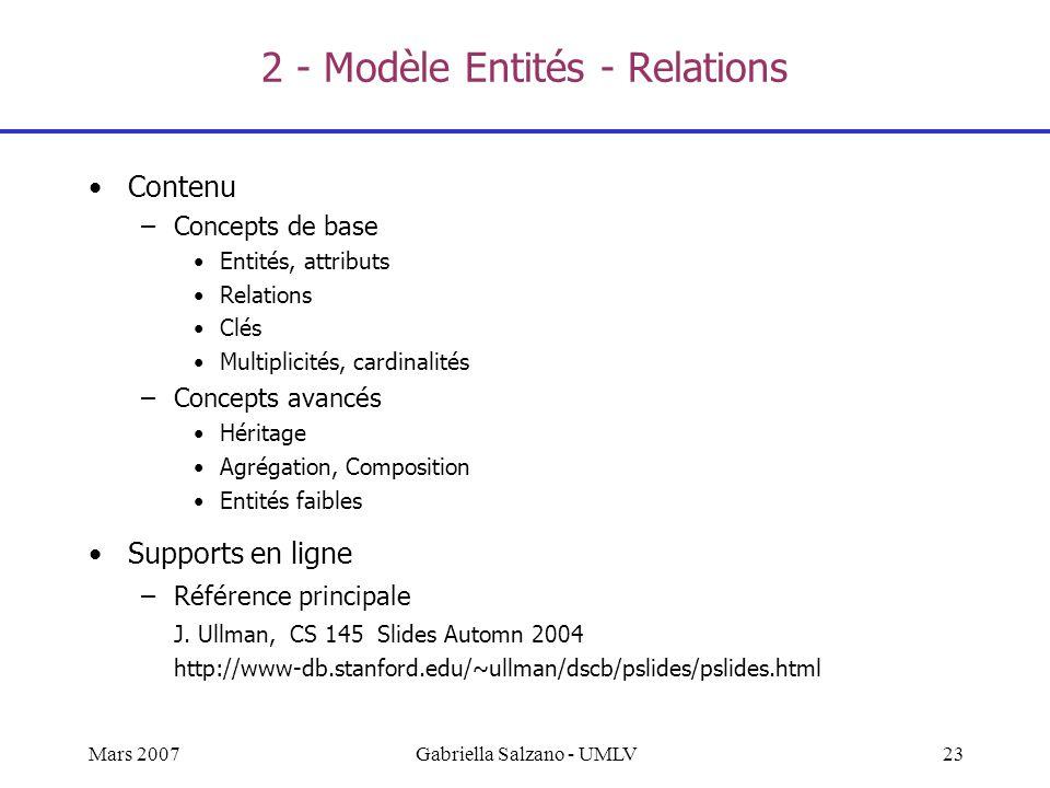 2 - Modèle Entités - Relations