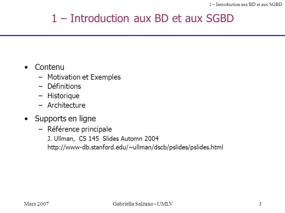 1 – Introduction aux BD et aux SGBD