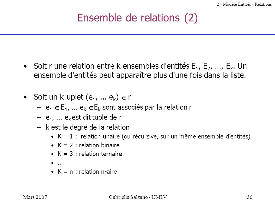 Ensemble de relations (2)