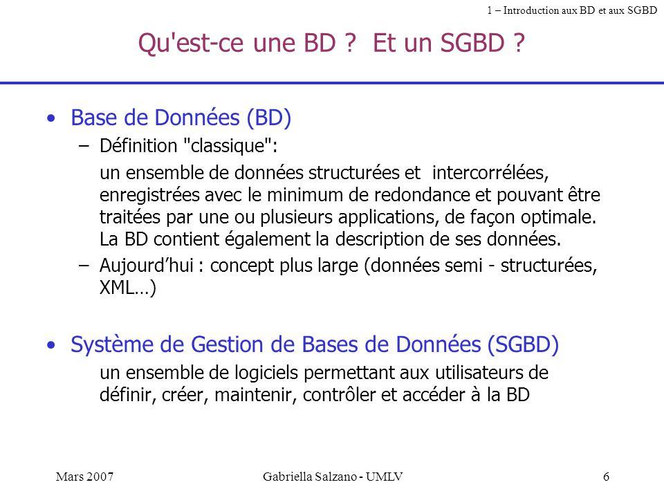 Qu est-ce une BD Et un SGBD