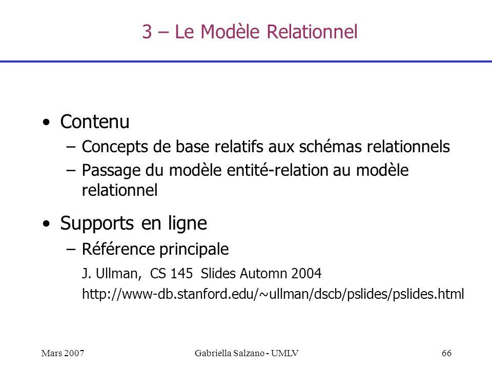 3 – Le Modèle Relationnel