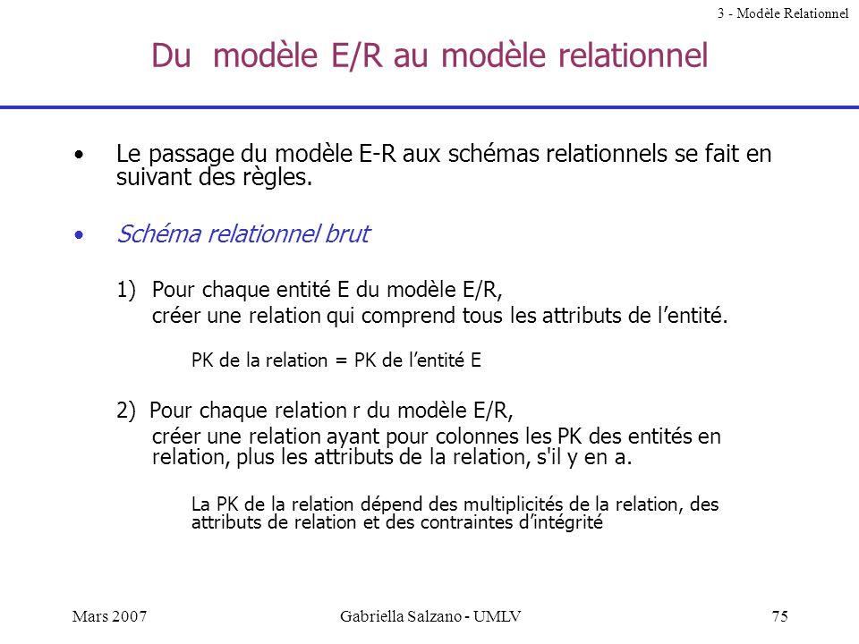 Du modèle E/R au modèle relationnel