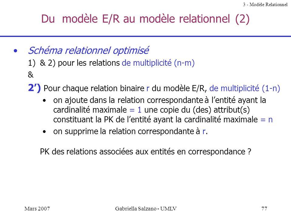 Du modèle E/R au modèle relationnel (2)