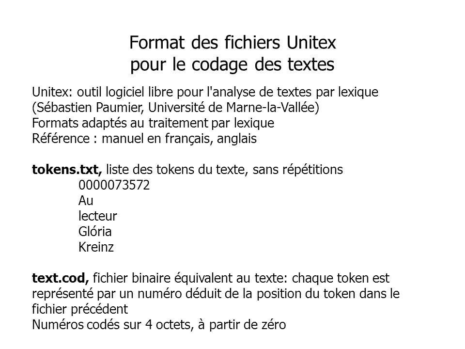 Format des fichiers Unitex pour le codage des textes