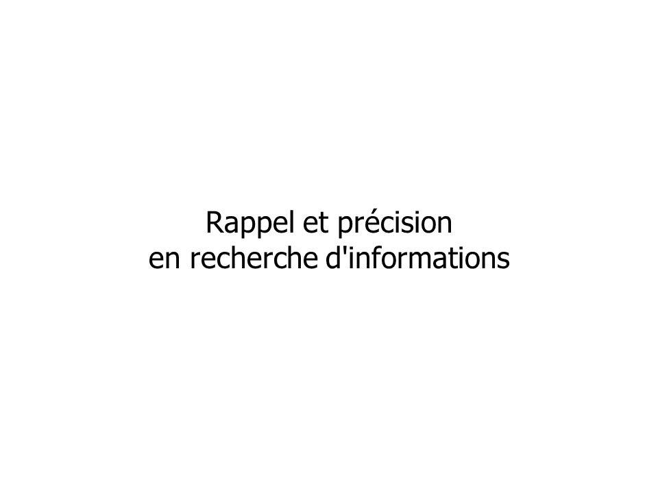 Rappel et précision en recherche d informations