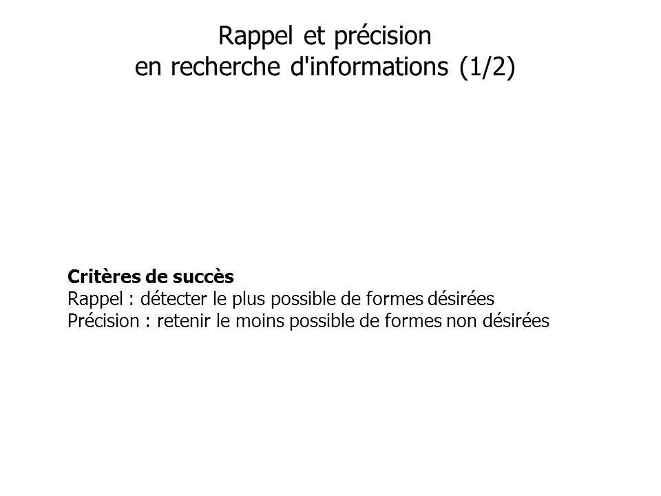 Rappel et précision en recherche d informations (1/2)