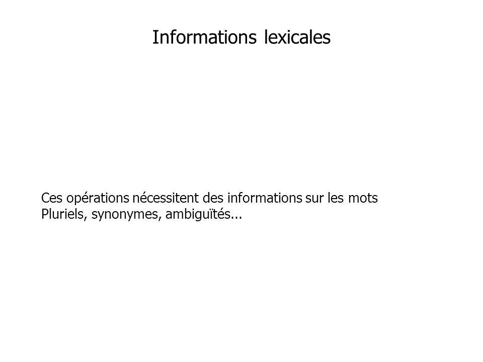 Informations lexicales