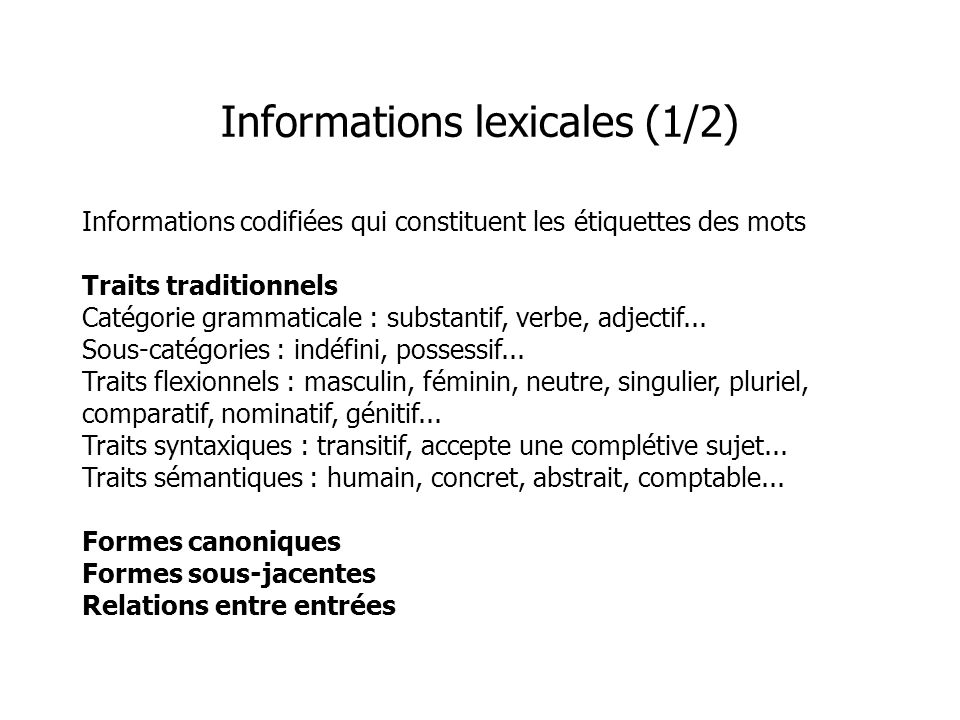 Informations lexicales (1/2)