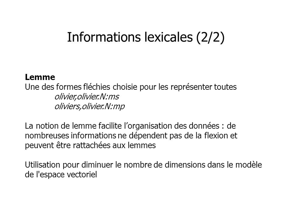 Informations lexicales (2/2)