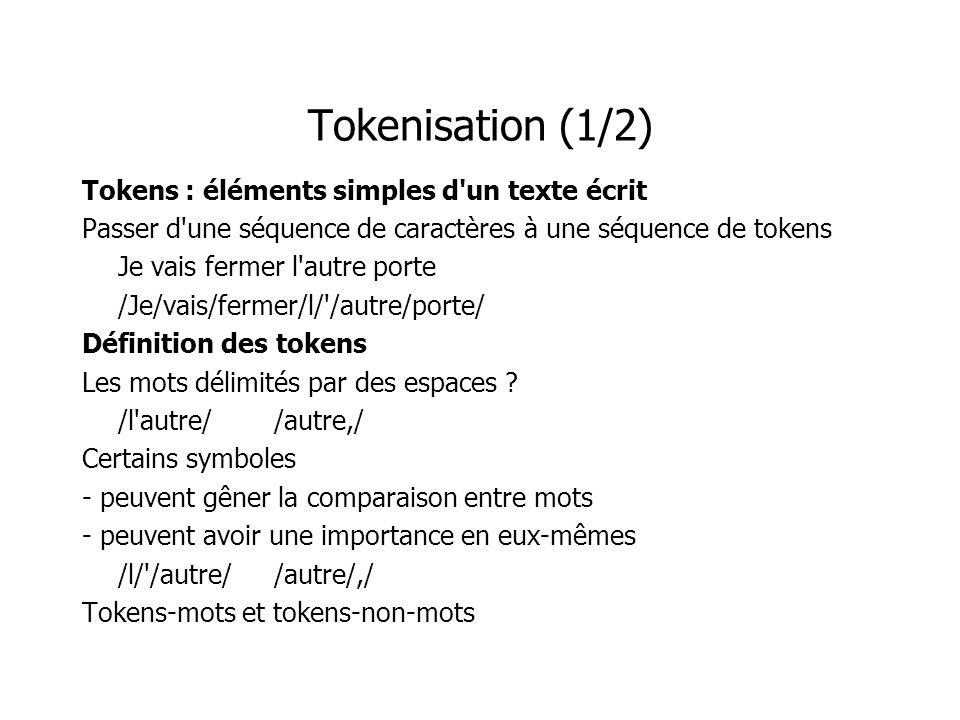 Tokenisation (1/2) Tokens : éléments simples d un texte écrit