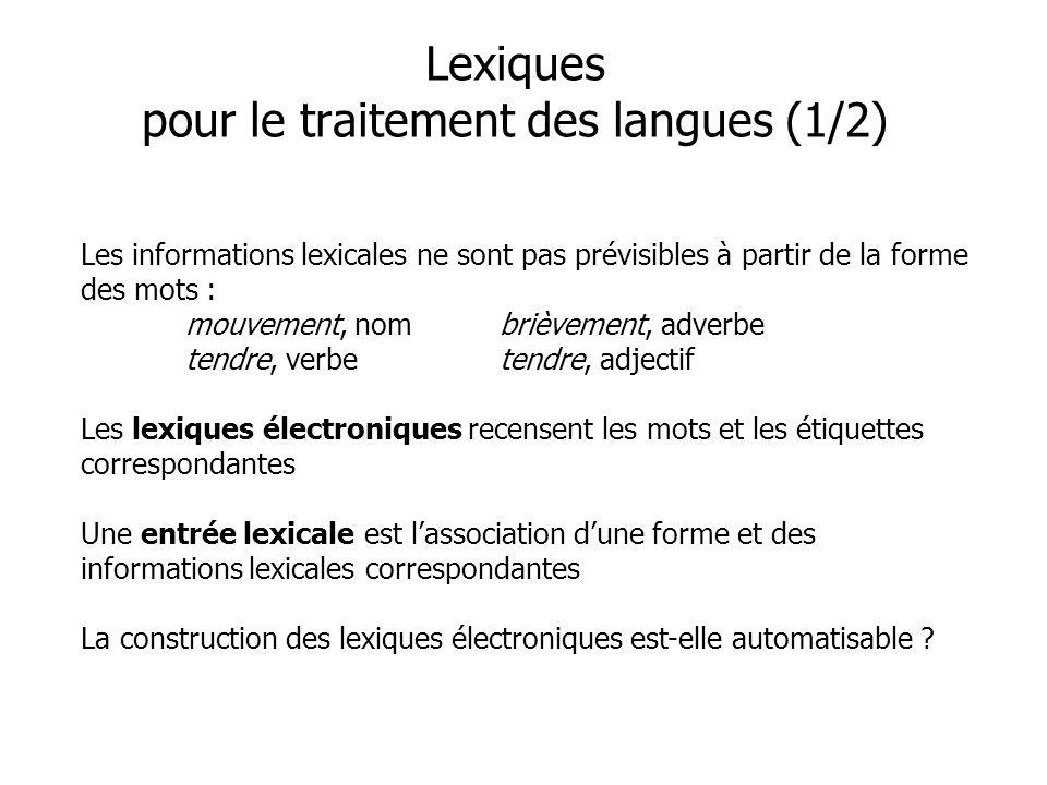 Lexiques pour le traitement des langues (1/2)