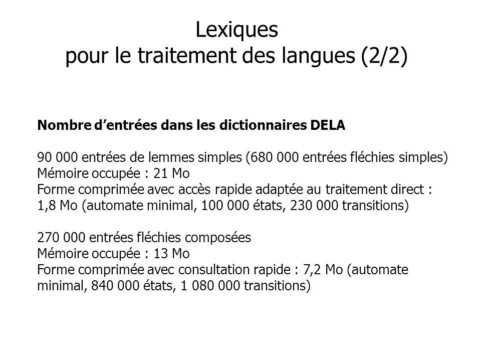 Lexiques pour le traitement des langues (2/2)