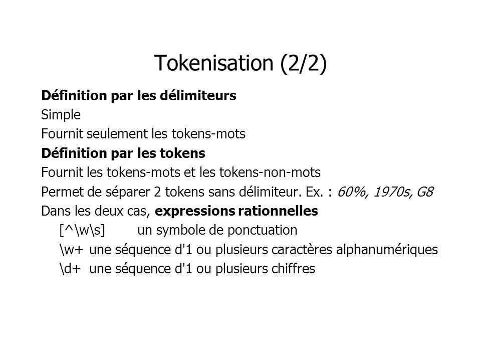 Tokenisation (2/2) Définition par les délimiteurs Simple