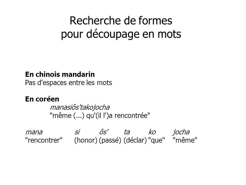 Recherche de formes pour découpage en mots