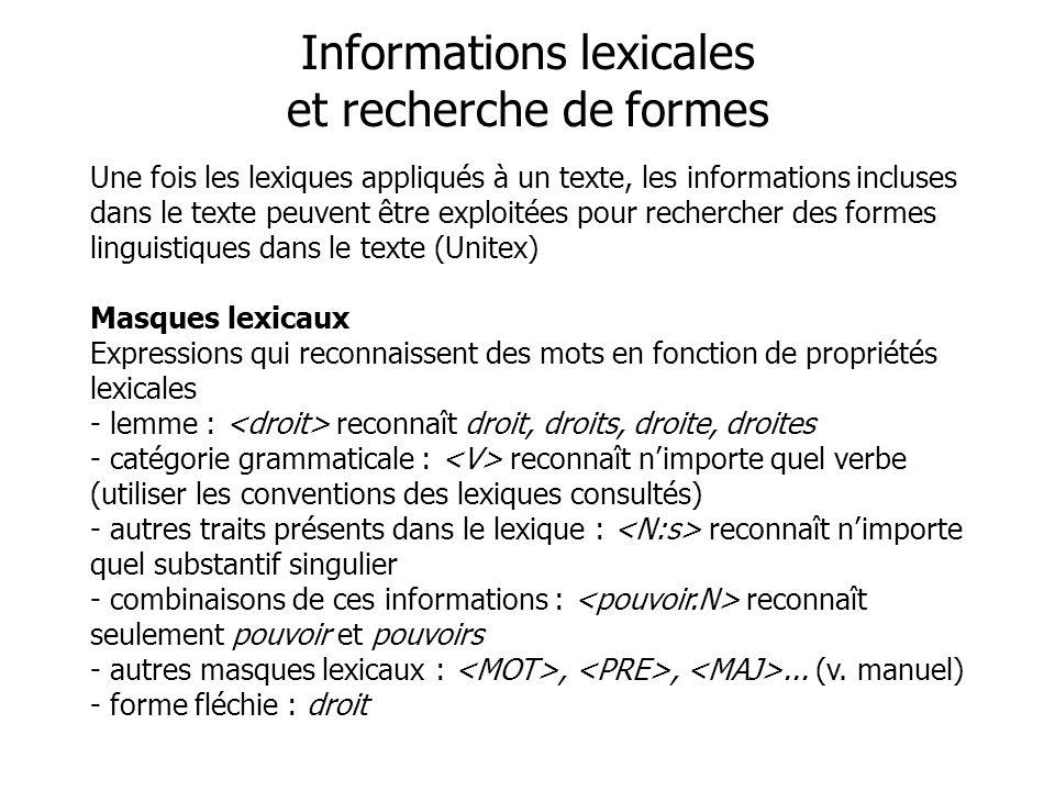 Informations lexicales et recherche de formes