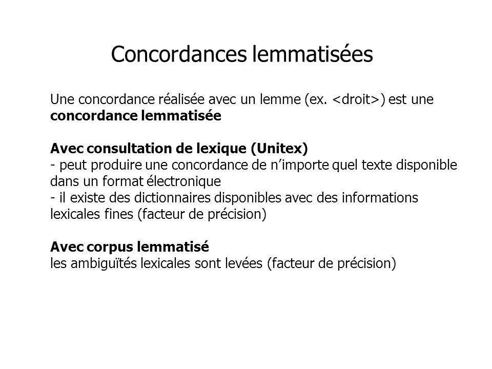 Concordances lemmatisées