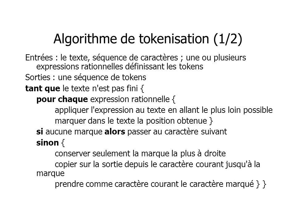 Algorithme de tokenisation (1/2)