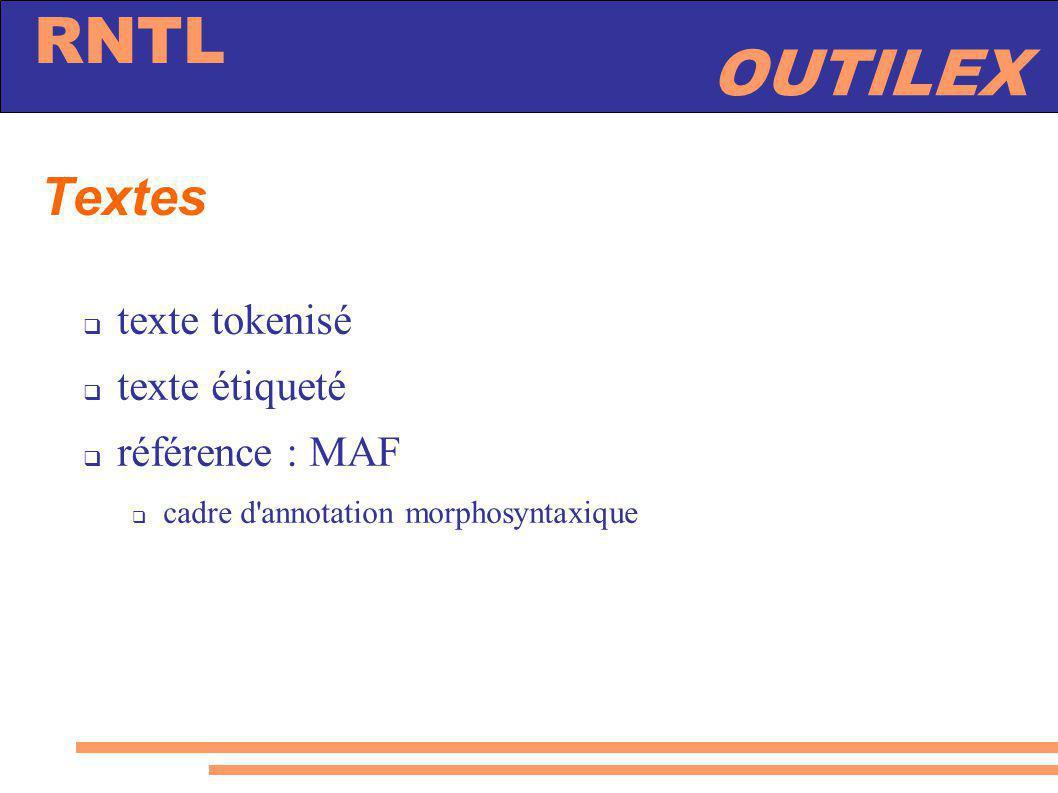 Textes texte tokenisé texte étiqueté référence : MAF