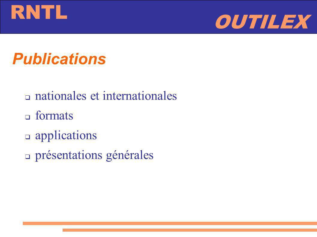 Publications nationales et internationales formats applications