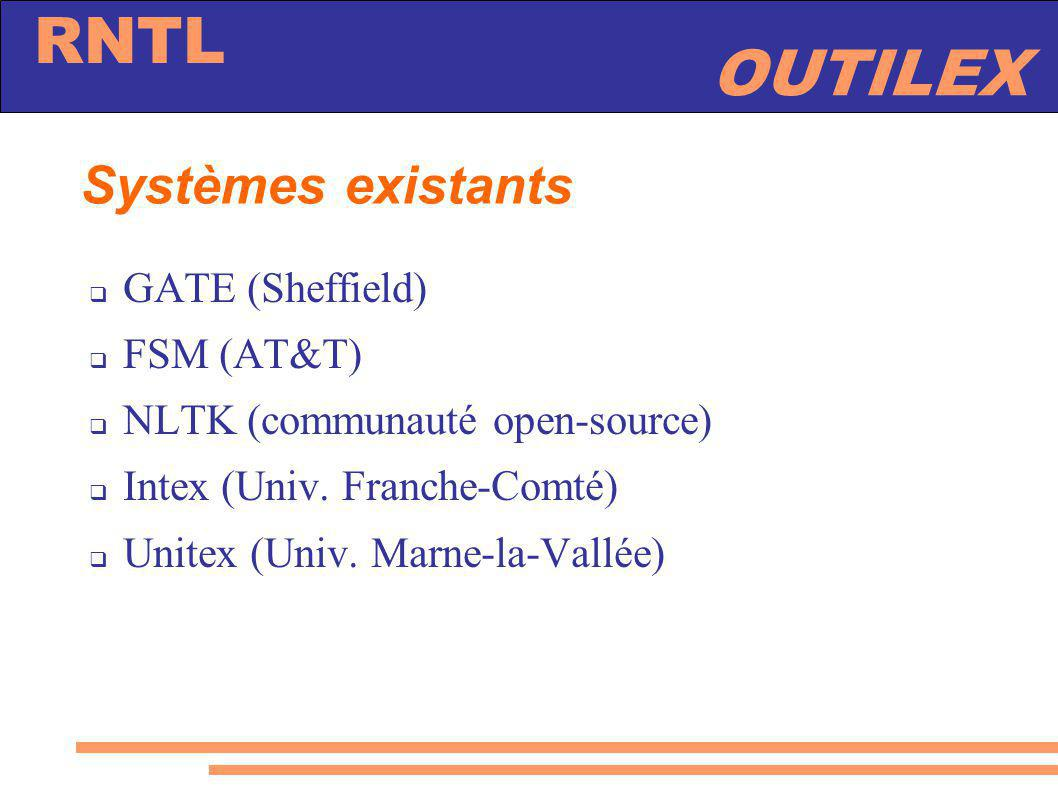 Systèmes existants GATE (Sheffield) FSM (AT&T)
