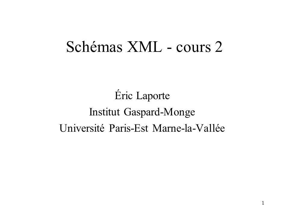 Schémas XML - cours 2 Éric Laporte Institut Gaspard-Monge