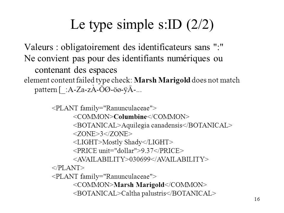 Le type simple s:ID (2/2) Valeurs : obligatoirement des identificateurs sans :