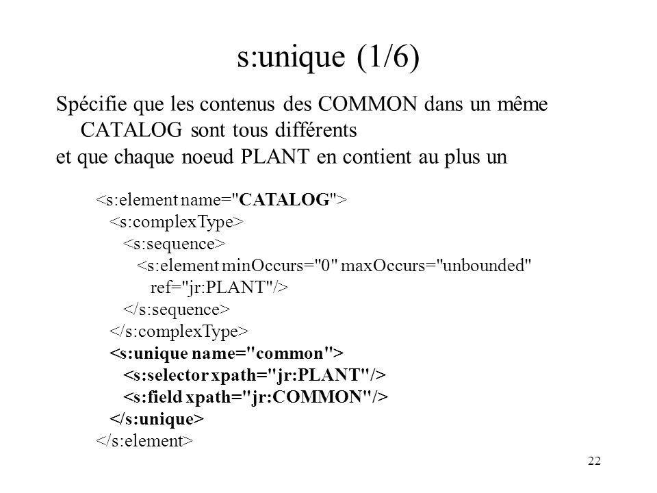 s:unique (1/6) Spécifie que les contenus des COMMON dans un même CATALOG sont tous différents. et que chaque noeud PLANT en contient au plus un.