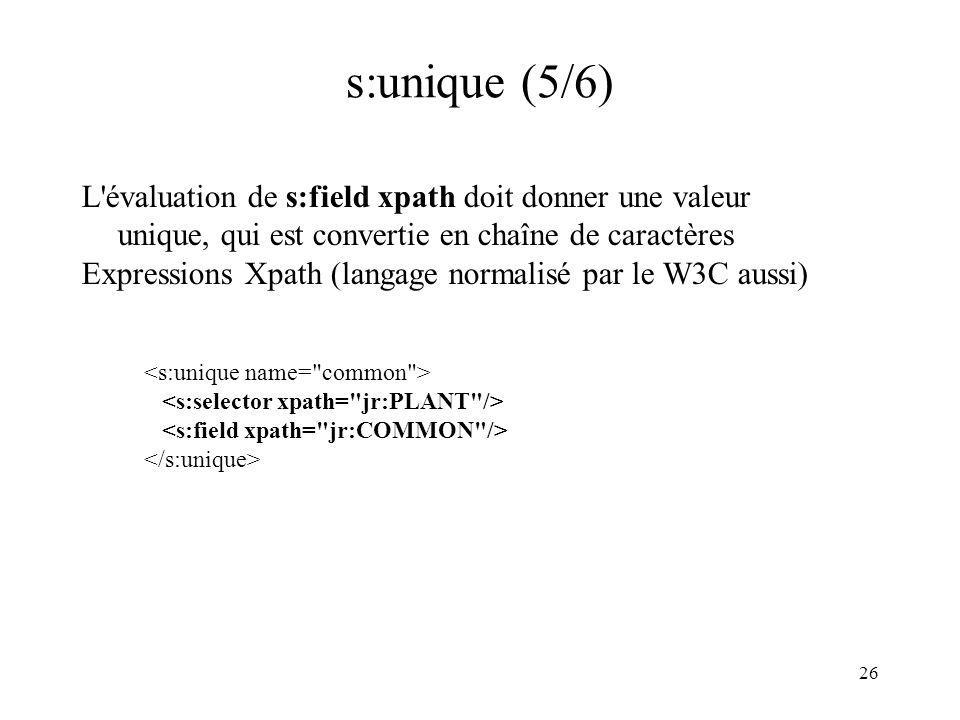 s:unique (5/6) L évaluation de s:field xpath doit donner une valeur unique, qui est convertie en chaîne de caractères.