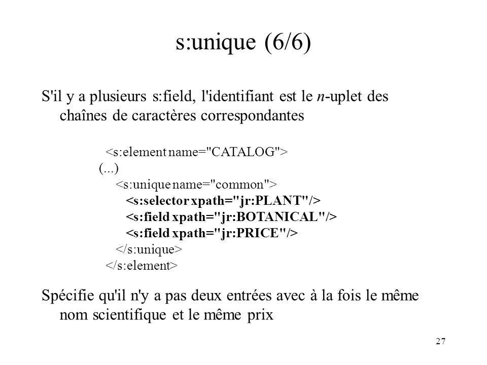 s:unique (6/6) S il y a plusieurs s:field, l identifiant est le n-uplet des chaînes de caractères correspondantes.