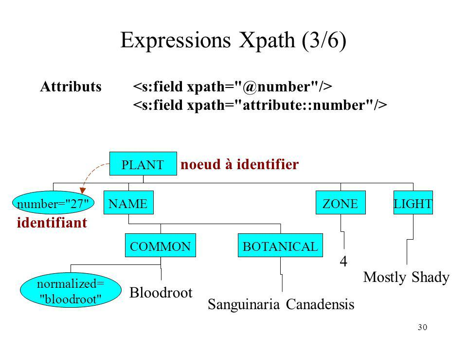 Expressions Xpath (3/6) Attributs <s:field xpath= @number />