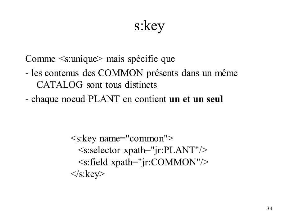 s:key Comme <s:unique> mais spécifie que