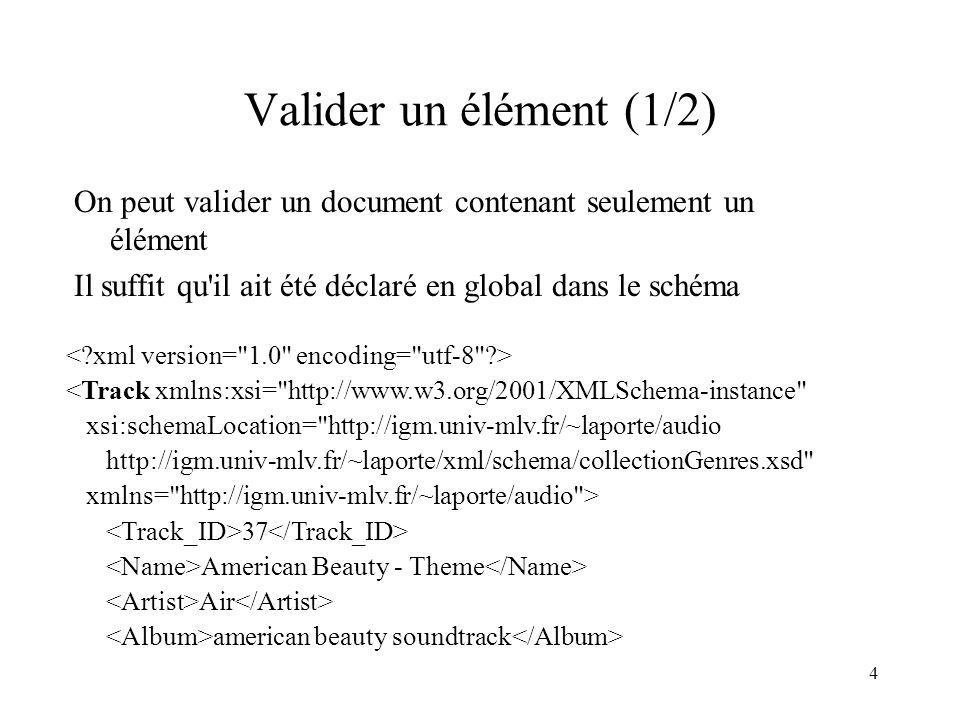 Valider un élément (1/2) On peut valider un document contenant seulement un élément. Il suffit qu il ait été déclaré en global dans le schéma.
