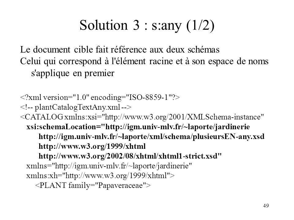 Solution 3 : s:any (1/2) Le document cible fait référence aux deux schémas.