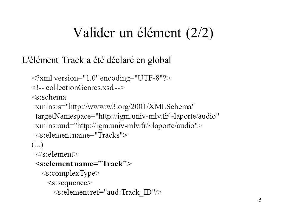 Valider un élément (2/2) L élément Track a été déclaré en global